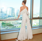 Elegant Lace Halter Neck Wedding Jumpsuit for Bride