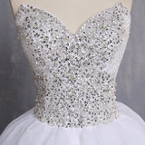Bling Ball Gown Wedding Dress With Corset Back Ruffled Wedding Dresses