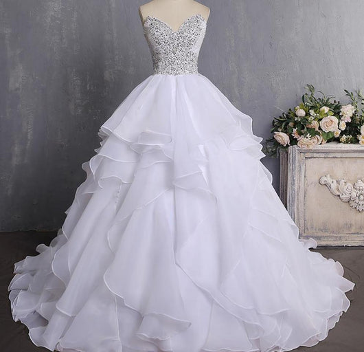 Bling Ball Gown Wedding Dress With Corset Back Ruffled Wedding