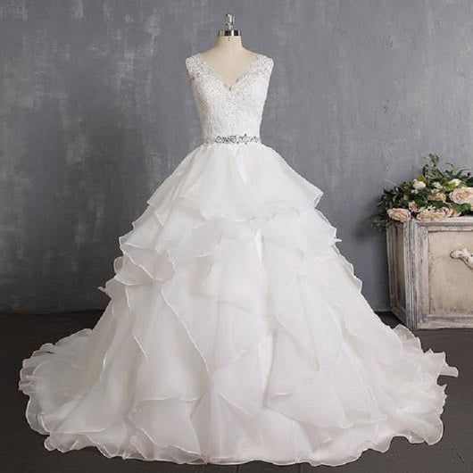 Ruffles Princess Wedding Dresses with Beaded Lace at Bling Brides