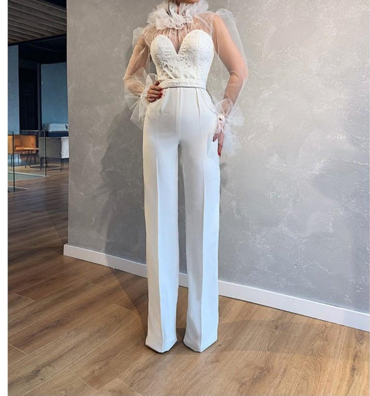 White  wedding jumpsuit high neck long sleeve  pants formal bridal jumper