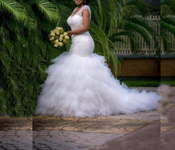 Cap Sleeve Ruffled Tiered  Bridal Gown  at Bling Brides Bouquet online Bridal Store
