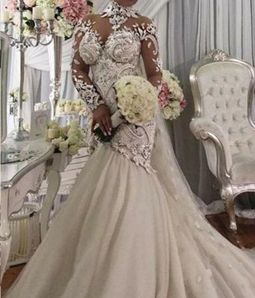 Wedding Gowns In Nigeria: High-Neck Mermaid Wedding Dresses Bridal Gowns Bridal