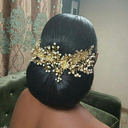 Luxury Gold Women Crystal Tiara Pearl Wedding Hairband