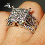 Princess Cut 4.5 CT White Zircon Silver Color Engagement Ring wedding Rings Party Rings