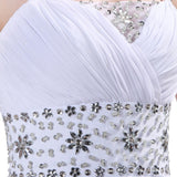 White Chiffon Beach Wedding prom party dress at Bling Brides Bouquet On line Bridal Store