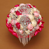 Waterfall Crystal bling bouquet bride jewelry Brooch Wedding Bouquet