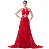 Red Evening prom Dresses Backless Chiffon Party Dress at Bling Brides Bouquet online bridal store