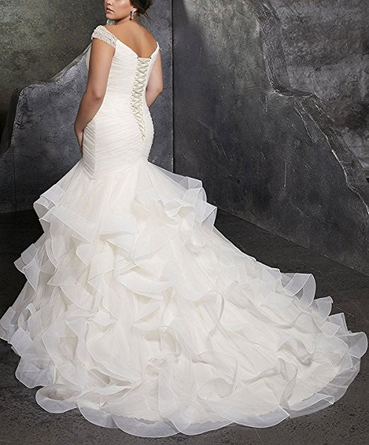 4bd650f197 ... Women s Plus Size Mermaid Wedding Dresses For Bride with Cap Sleeves ...