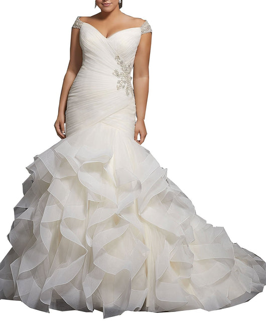 ... Women s Plus Size Mermaid Wedding Dresses For Bride with Cap Sleeves ... 0a11cf25b