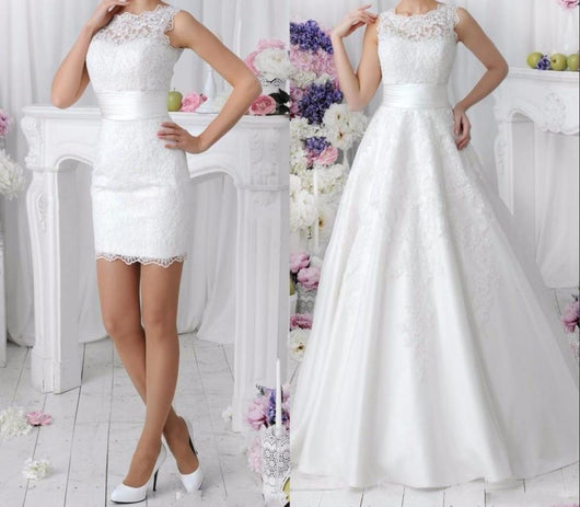 Lace Wedding Dress With Detachable Skirt at Bling Brides Bouquet online bridal store