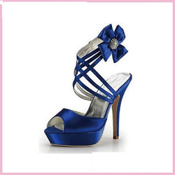 Bling Bridal Royal blue Weddingl Heels