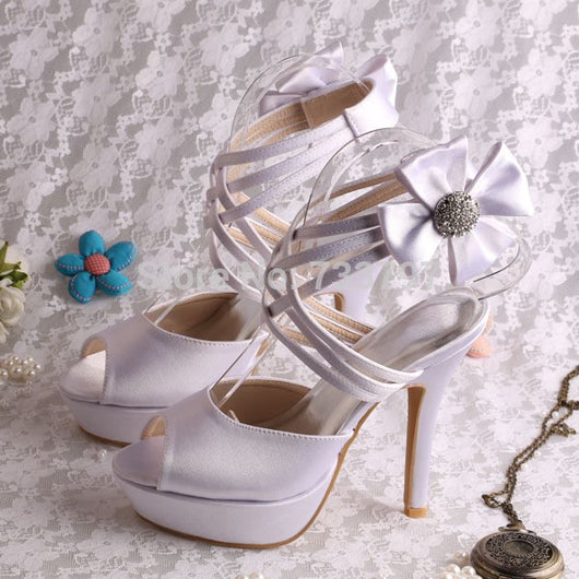 Wedding Shoes Criss cross Ankle Strap Bridal Heels at Bling Brides Bouquet online bridal store