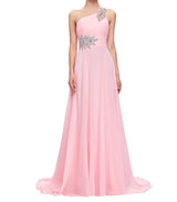 Chiffon Bridesmaid /Prom Dresses One Shoulder Prom Dress at Bling Brides Bouquet Online Bridal Store