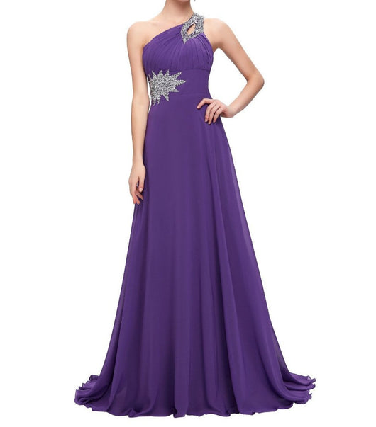 3e0bd94b596 ... Chiffon Bridesmaid  Prom Dresses One Shoulder Prom Dress at Bling  Brides Bouquet Online Bridal Store ...