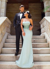 Satin  Detachable Train Mermaid Bridesmaid Dresses With Lace