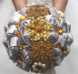 Custom wedding bridal bouquets gold crystal sparkle bouquet for bride