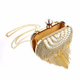 Tassel Rhinestones Clutch Women Evening Bags Beaded Handbags with Pearls