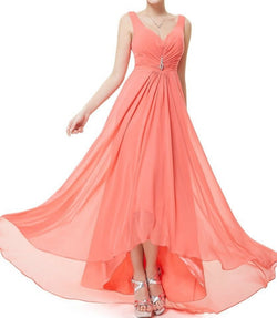 Chiffon High Low Bridesmaid Dress at bling brides bouquet online bridal store