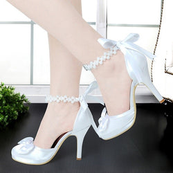 Ivory or white High Heel Round Toe Platform Pearls Ankle Strap Bow Satin Lady Prom Evening Bridal Pumps