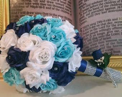 Bling brides custom made 3 piece bridal bouquet set