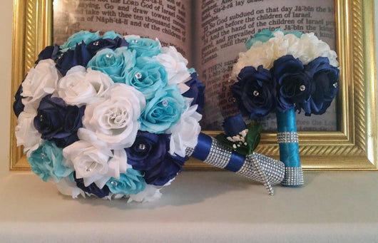 Bling brides custom made 6 piece bridal bouquet set