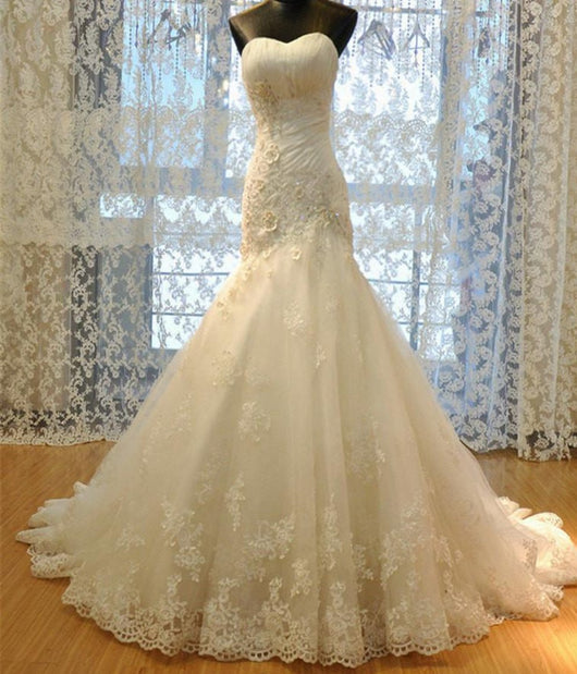 Corset Bodice Lace  Mermaid Wedding Dress at Bling Brides Bouquet online Bridal Store