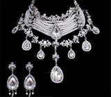 Crystal Teardrop rhinestone Choker, Austrian Crystal Necklace set