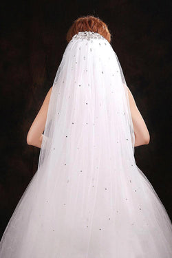Bridal Veil With rhinestone Crystals, White or Ivory Wedding Veil