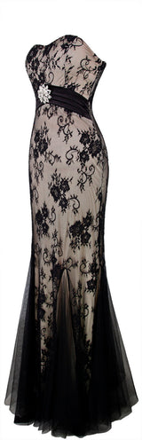 Strapless Crystal Floral Mesh Draped Mermaid Evening Party Dress , Vintage lace maxi dress