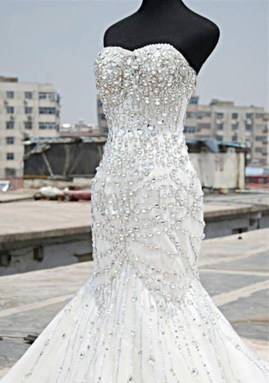 Mermaid Wedding Dress With Sparkling  crystals at Bling Brides Bouquet online Bridal Store