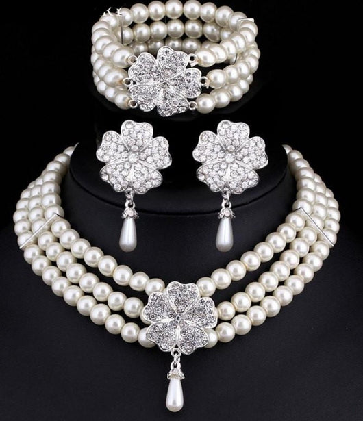 Cream Pearl Wedding Jewelry Sets, Necklace, Bracelet and earrings