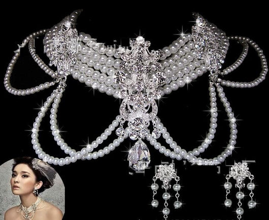 Silver crystal rhinestone pearl Wedding Bridal choker necklace earring Jewelry Set