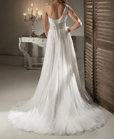 One Shoulder Chiffon Beach Wedding Dress  at Bling Brides Bouquet online Bridal Store