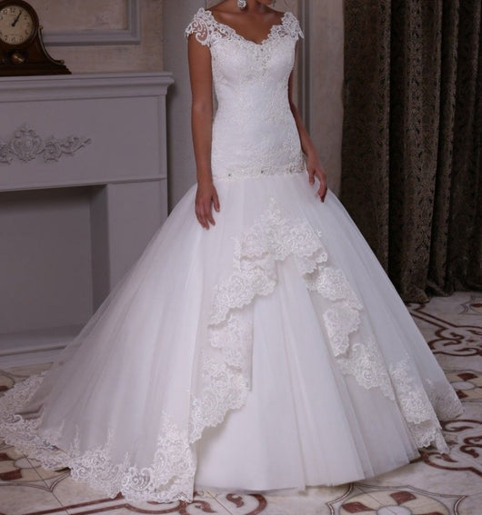 Mermaid Lace Ruffled Bridal Dress  at Bling Brides Bouquet online Bridal Store