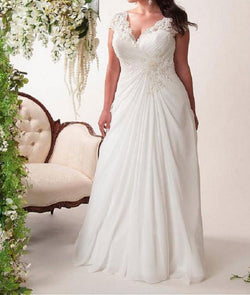 Chiffon Plus Size Beach Bridal Gown at Bling Brides Bouquet online Bridal Store