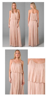 Pink Pleated Ruffled Maxi Dress, Chiffon pleated maxi dress, Long tiered Maxi-dress,