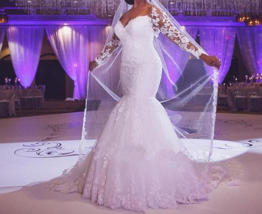 Long Sleeves Mermaid Lace Wedding Dress at Bling Brides Bouquet online Bridal Store