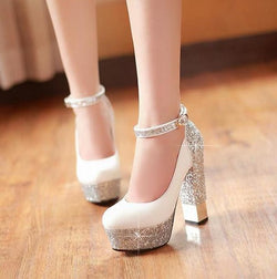 High-heeled shoes Sparkle Bling  Wedding Shoes For Women With High Platform and Ankle Strap
