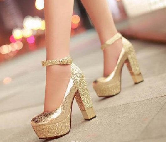 032a4661b5e ... High-heeled shoes Sparkle Bling Wedding Shoes For Women With High  Platform and Ankle Strap ...