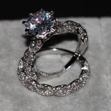 Luxury Jewelry Diamonique 925 Sterling Silver Wedding Topaz CZ Diamond Women Bridal Ring set