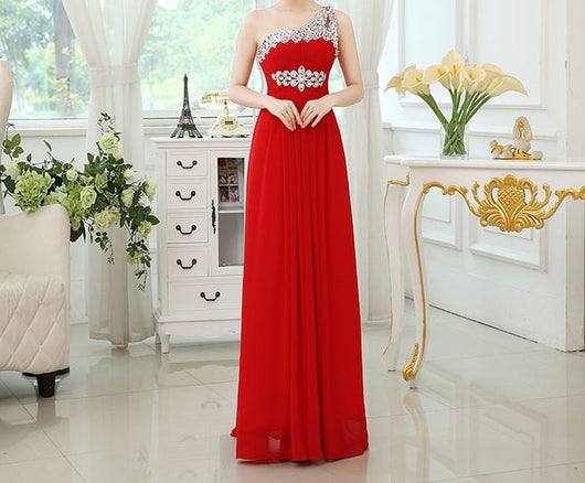 One shoulder red evening /bridesmaids dress at Bling Brides Bouquet online Bridal Store