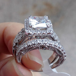 2.8 Ct Princess Cut CZ Solid 925 Sterling Silver Wedding ring set