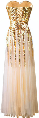 Sweetheart Golden  Lace up Bridesmaid Dress at Bling Brides Bouquet online Bridal Store