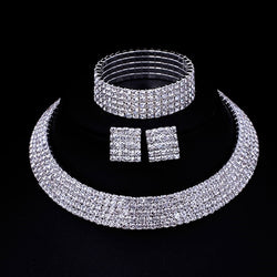 Austrian Crystal Wedding Necklace Choker Earring and bracelet set
