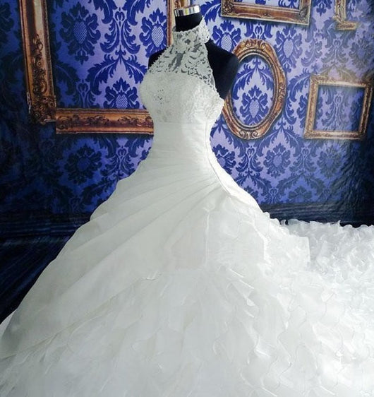 High-neck  Ruffled Wedding Gown  at Bling Brides Bouquet online Bridal Store