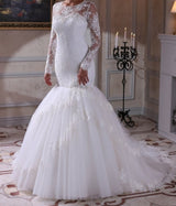 Mermaid Long sleeved Lace Wedding Bridal Gown with Victorian Lace Sleeves