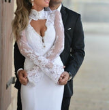 Long Sleeves Lace Satin Mermaid Wedding Dress at Bling Brides Bouquet online Bridal Store
