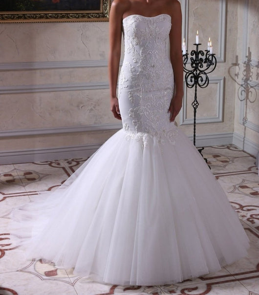 Mermaid Embroidered Lace Bodice Wedding Bridal Dress, tulle skirt