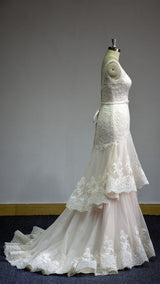 Western Style Tiered Mermaid bridal dress at Bling Brides Bouquet online Bridal Store